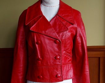 1990s Cherry RED Leather double breasted Cropped Jacket Pea Coat