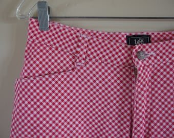 size 3T Toddler Pants with Elastic Ankle in Red Gingham
