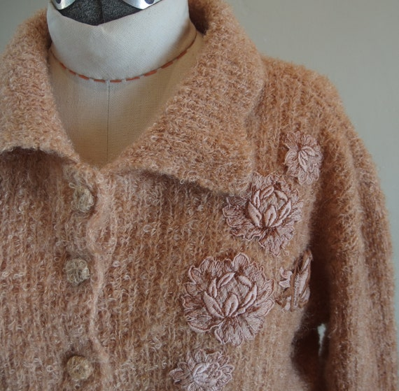 1950s Cropped Mohair Cardigan Sweater Collar Knit