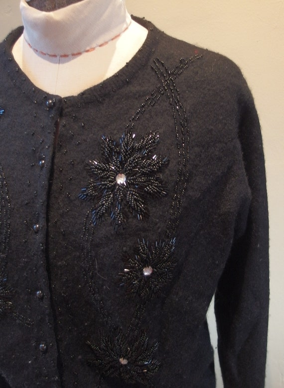 1950s Wool Beaded Cardigan Sweater