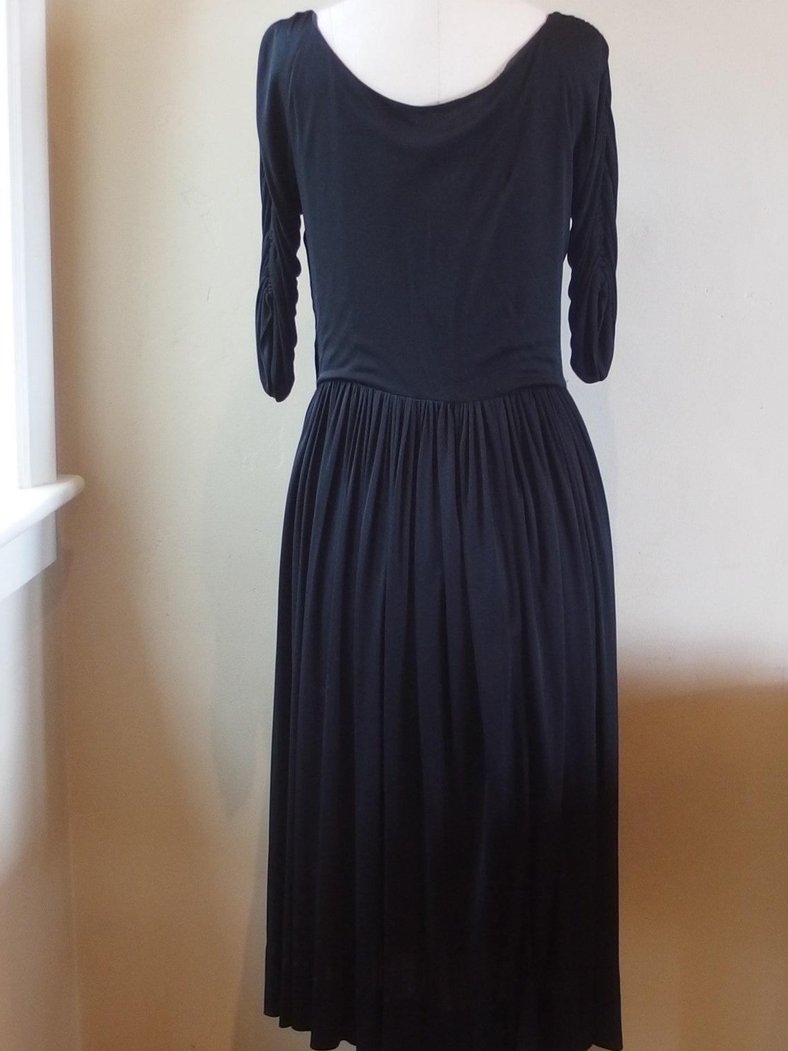 Herbert Sondheim Couture 1950s/60s Black  Crepe Evening Dress