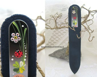 Painted Nail File Swarovski AB Glass Nail File Swarovski Diamond Crystal Nail File Ladybug Paint Gift For Her Ladybug Nail Care File