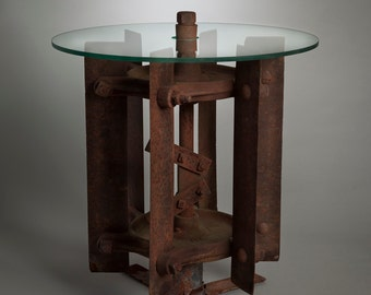 Cotton Stalk Cutter Table with glass top