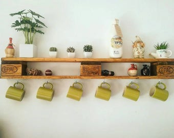 Pallet shelf for home with hooks