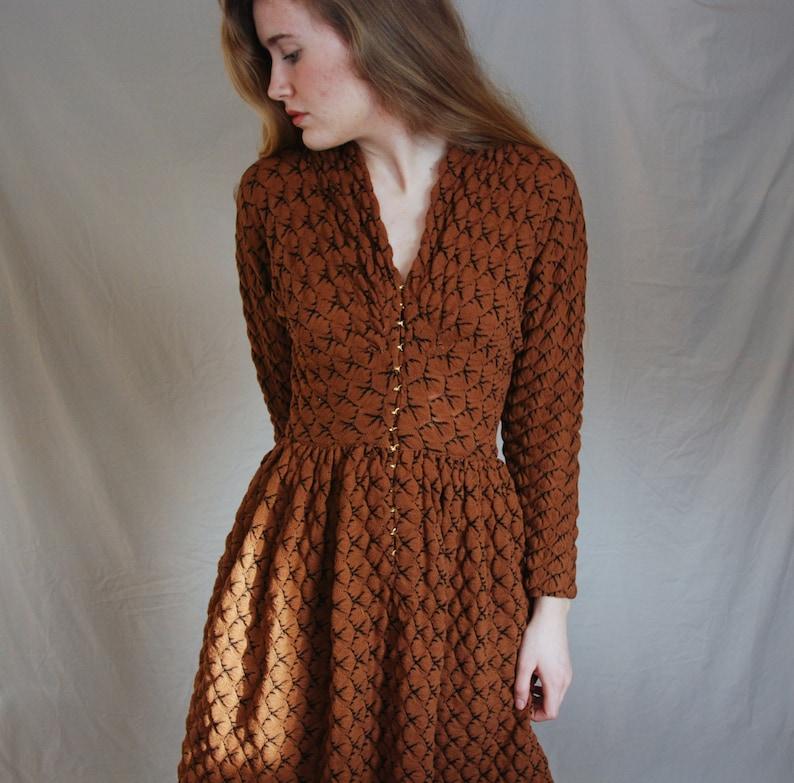 abdc6e5c1a9 RARE Claire McCardell 50s Orange Dress Knit Clasps | Etsy