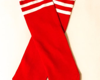 Red and Rainbow Knee high Toddler Socks