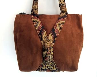 Original, handcrafted, zippered suede handbag with tapestry trim in a unique design, boho handbag, shoulderbag