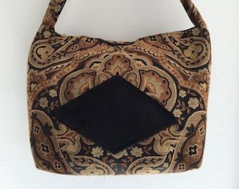 Elegant black, beige, and gold fabric handbag- fabric purse - tapestry handbag - boho handbag