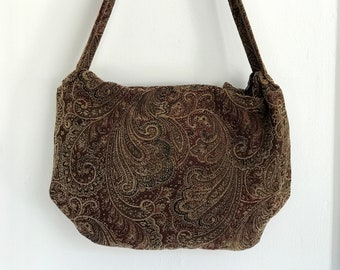 Red, gold, and black chenille bohemian style hobo bag.