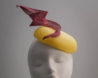 Hat with Feathers Cocktail Hat Hat with a ribbon Oyster and Taupe Occasion Hat Wedding Hat Barbara Bows and Loops