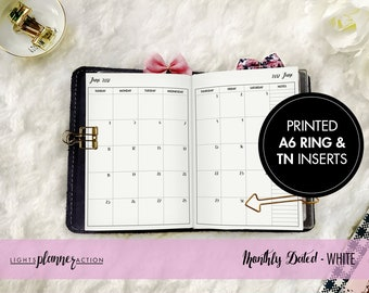 Dated Monthly Travelers Notebook | Monthly Planner Insert | A6 TN and Ring Inserts