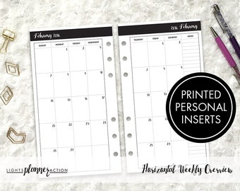 Dated Monthly Inserts | Printed Personal and Personal Wide Ring Planner Insert