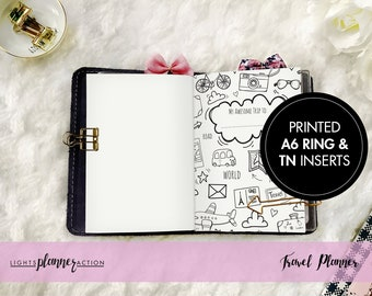 Travel Planner/Memory Keeper Travelers Notebook | Travel Planner Insert | A6 TN and Ring Inserts