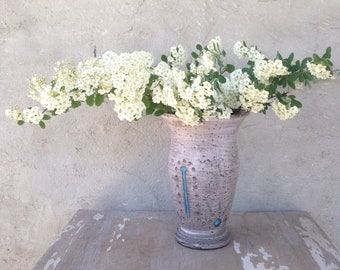 Rustic Vase, Handmade Vase, Vase with Turquoise Accent
