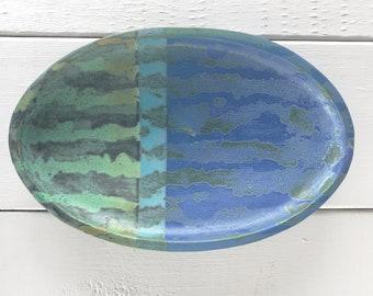Ceramic Platter, Striped Platter