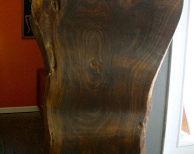 Hand Carved Acacia Wood Slab Sculpture Statute with Brass Butterflies
