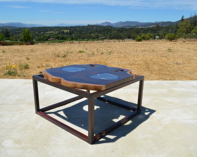 Hand Made Rosewood Live Edge Slab Coffee Table or Side End Table with Glass Insert and Rosewood Mid Century Modern Inspired Legs