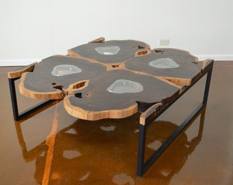 Mid Century Modern, George Nakashima Inspired Large Rosewood Slab and Glass Square Coffee Table