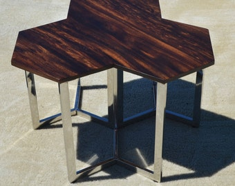 Unique, Hand Made, Modern, Acacia Wood Slab Night Stand or Side Table With Abstract Stainless Steel Legs
