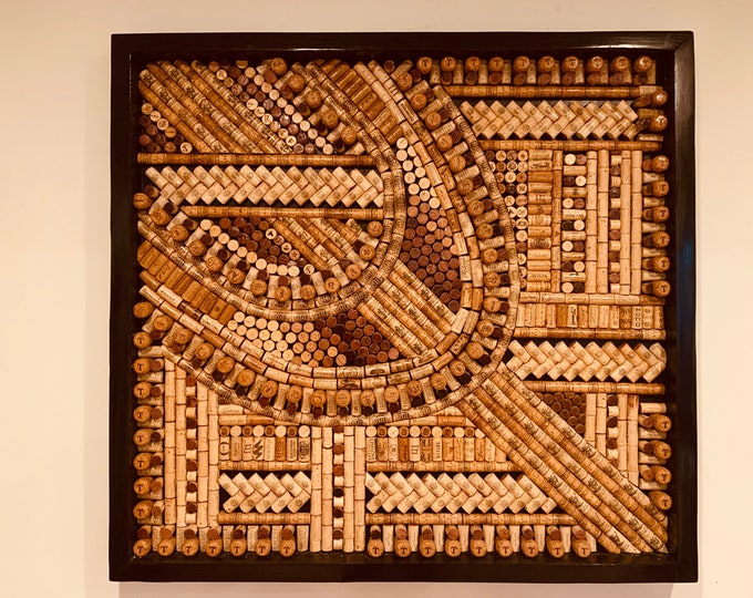 Recycled Wine Cork Abstract Mosaic Framed Wall Art Wine Lover Art