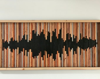 Large Stained Reclaimed, Recycled Wood, Sound Wave Collage, Fine Art, Wood Wall Art, Hand Made, Wood Wall Sculpture, Sound Wave,