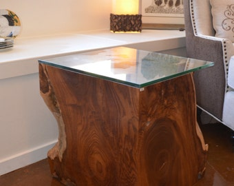 Modern Solid Teak Root Side Table, Accent Table, Night Stand or Stool with Glass Top