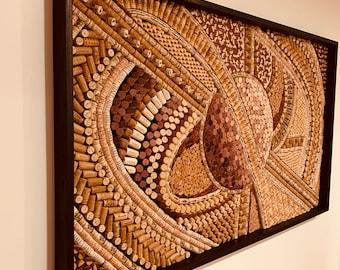 Recycled Wine Cork Mosaic Abstract  Wall Art Wine Lover Art Wine Cellar Ideas Winery Art Hotel Decor