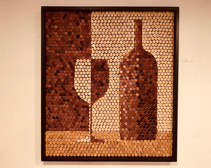 Recycled Wine Cork Mosaic Wine Glass Wine Bottle Wall Art Wine Cellar Art Wine Cork Sculpture Hotel Lobby Wall Art Gift for Wine Lover