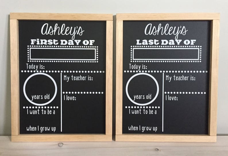 First /& Last Day of School Reusable Chalkboard Sign Photo Prop Set Easy Clean