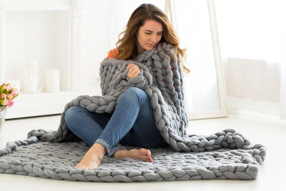 couverture en laine m rinos chunky jet grosse laine couverture etsy. Black Bedroom Furniture Sets. Home Design Ideas