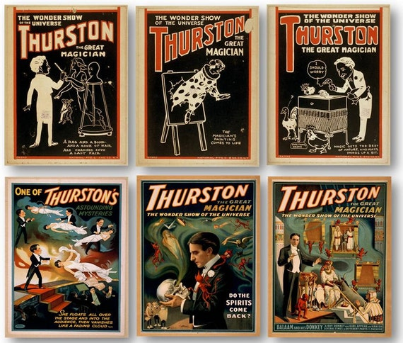 Vintage Thurston Magician Show Advertisement Poster Remastered 11x17 inch