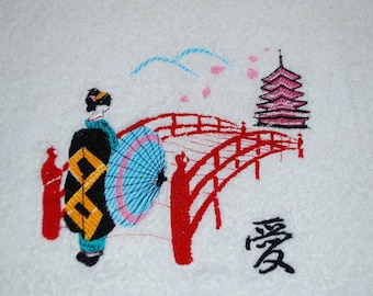 Chinoiserie bridge temple and love embroidered bath towel
