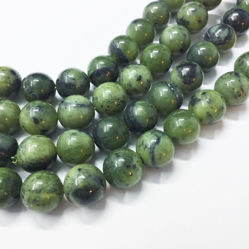 10mm Canadian Jade Gemstone Beads Full 15 strand of AAA Grade beads Nephrite Green Jade about 38 per strand