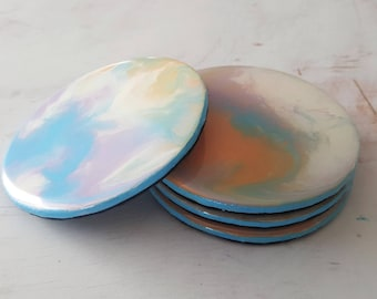 Abstract Art Coasters in Blue, Orange and Pink