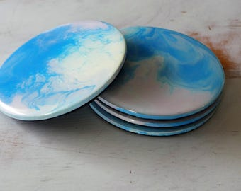 Abstract Art Coasters in Pink, Cream and Blue