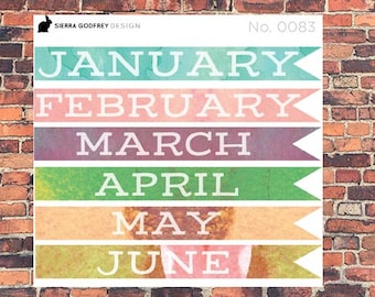 Large month flags - 0083 Bullet journal stickers, planner stickers, A5 planning stickers