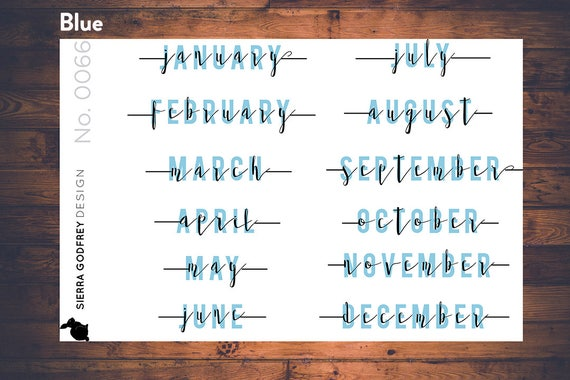 month stickers 0066 planner stickers month planner etsy
