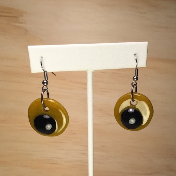Earrings Fused Glass with Gun Metal Jump Ring