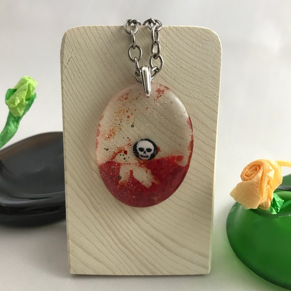 Necklace Fused Glass Pendant with a Skull Millefiori