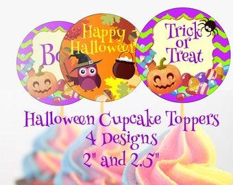 Halloween Cupcake Toppers Halloween Cake Topper Halloween Printable Cupcake Topper Trick or Treat Cupcake Topper Halloween Cupcake Topper