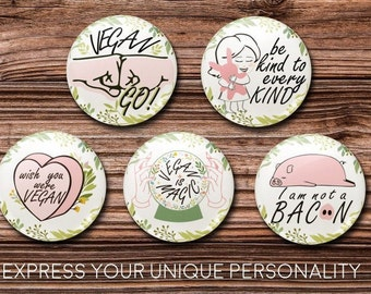 Vegan 1 inch Round I am not a Bacon 1 inch Round Images Vegan Bottle Cap Images Bottle Cap Images Vegan is magic Round Images
