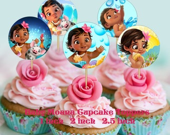 Baby Moana Inspired Cupcake Toppers 2 INCH 25 Inch 1 Party Decor Birthday