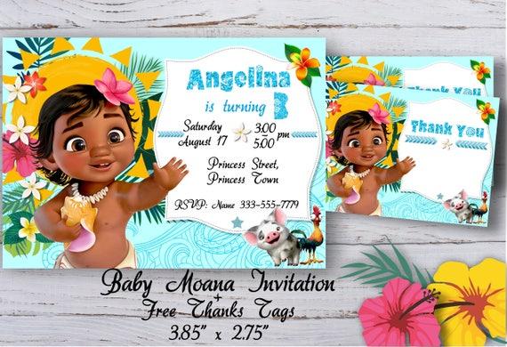 baby moana invitation baby moana birthday invitation baby etsy