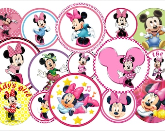 PRINTABLE Instant Minnie Mouse Inspired Bottle Cap Image 1 INCH Round Images Minnie Mouse 1 inch Minnie mouse image Printable Minnie Mouse