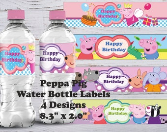 Peppa Pig Bottle Labels, Peppa Pig Water Bottle Labels, Peppa Pig Labels, Peppa Pig Stickers, Peppa Pig Birthday Labels, Printable Labels