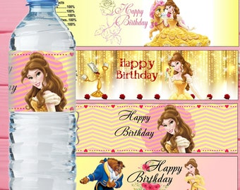 Belle Inspired Water Bottle Label Beauty and the Beast Bottle Label Princess Belle Water Bottle Label Belle Birthday Party Belle Party Decor