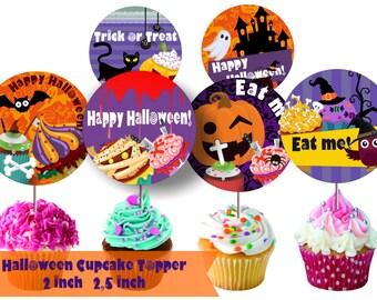 Halloween Cupcake Toppers Halloween Cake Topper Halloween Cupcake Topper Trick or Treat Cupcake Topper Halloween Cupcake Topper Halloween