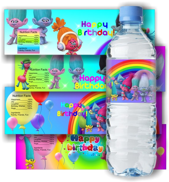 Trolls Inspired Water Bottle Label Trolls Bottle Label Trolls