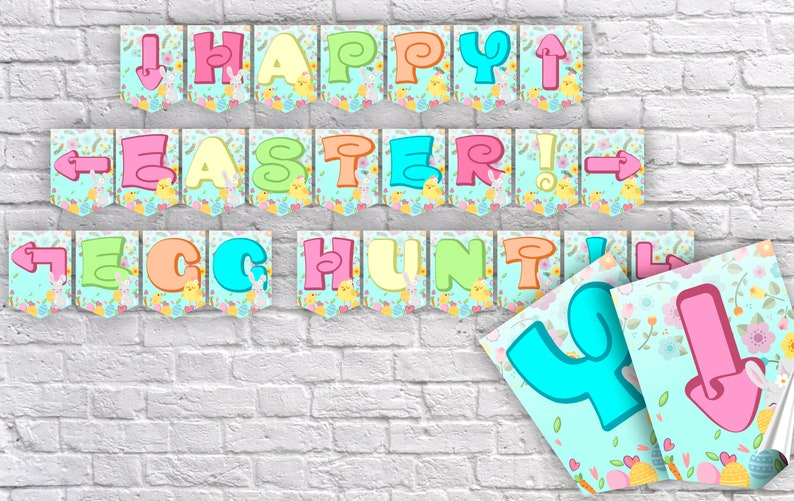 graphic regarding Easter Banner Printable identified as Easter Banner Content Easter Printable banner Egg Hunt Bash Banner Easter Printable Banner Joyful Easter Garland Egg Hunt Printable Banner