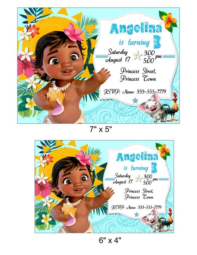 Baby Moana Invitation Birthday Invitations Printable
